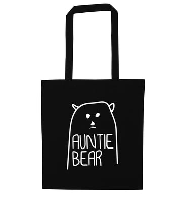 Auntie bear black tote bag
