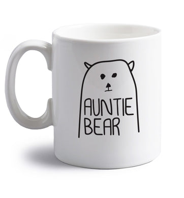 Auntie bear right handed white ceramic mug