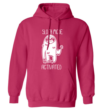 Sloth mode acitvated adults unisex pink hoodie 2XL