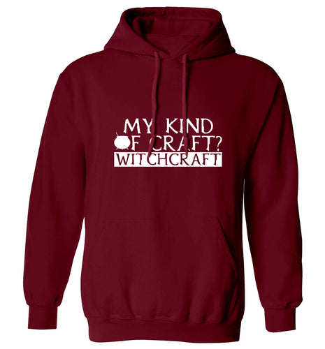 My favourite kind of craft? Witchcraft adults unisex maroon hoodie 2XL
