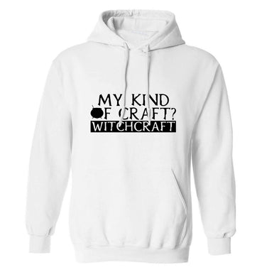 My king of craft? witchcraft  adults unisex white hoodie 2XL