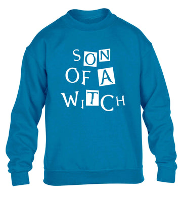 Son of a witch children's blue sweater 12-13 Years