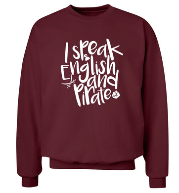 I speak English and pirate Adult's unisex maroon Sweater 2XL