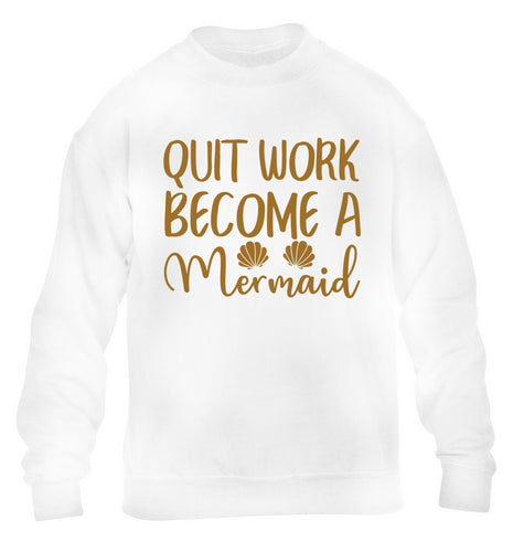 Quit work become a mermaid children's white sweater 12-13 Years