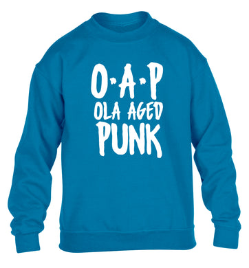 O.A.P Old Aged Punk children's blue sweater 12-13 Years