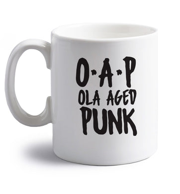 O.A.P Old Aged Punk right handed white ceramic mug