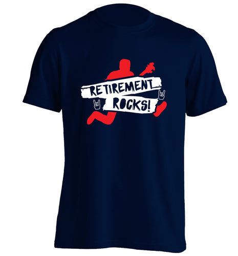 Retirement Rocks adults unisex navy Tshirt 2XL
