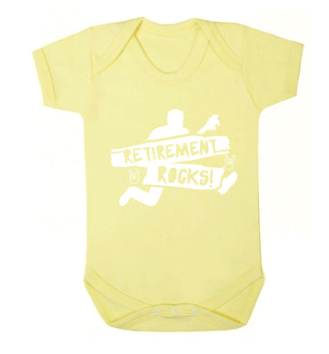 Retirement Rocks Baby Vest pale yellow 18-24 months