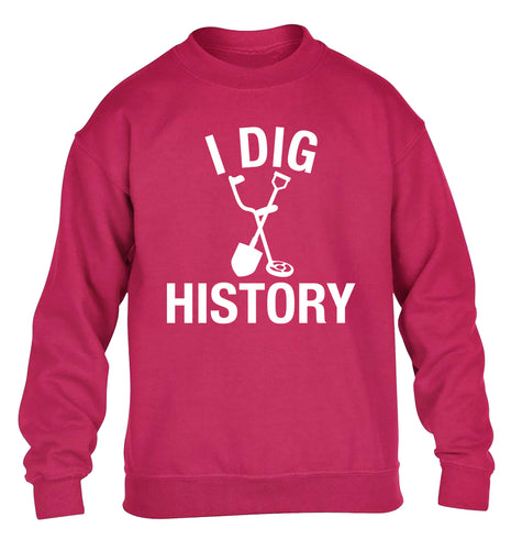 I dig history children's pink sweater 12-13 Years