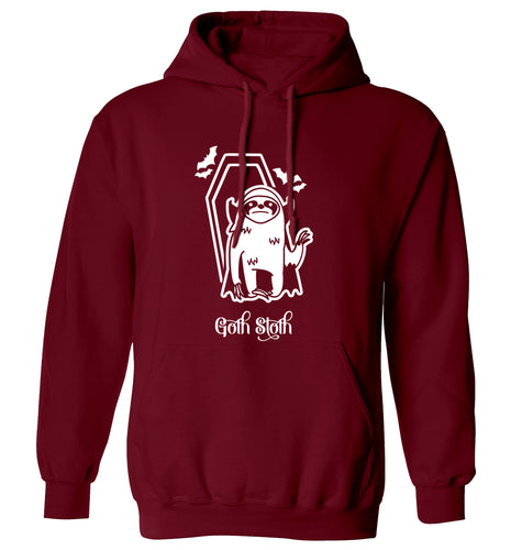 Goth Sloth adults unisex maroon hoodie 2XL