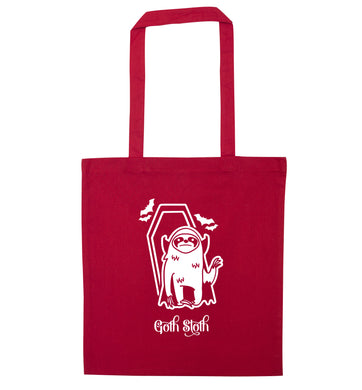 Goth Sloth red tote bag