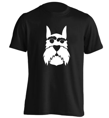 Schnauzer dog illustration adults unisex black Tshirt 2XL
