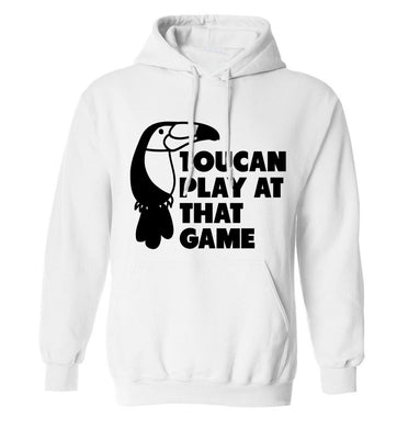 Toucan play at that game adults unisex white hoodie 2XL