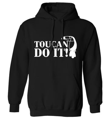 Toucan do it! adults unisex black hoodie 2XL