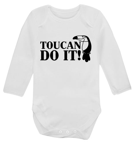 Toucan do it! Baby Vest long sleeved white 6-12 months