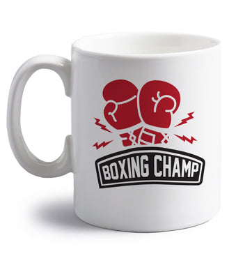 Boxing Champ right handed white ceramic mug