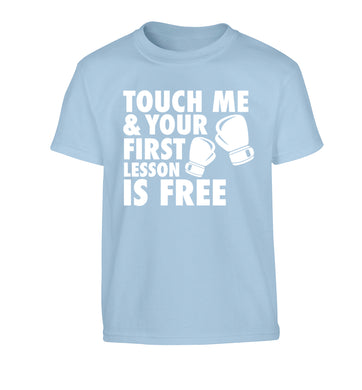 Touch me and your First Lesson is Free  Children's light blue Tshirt 12-13 Years