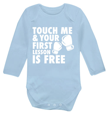 Touch me and your First Lesson is Free  Baby Vest long sleeved pale blue 6-12 months