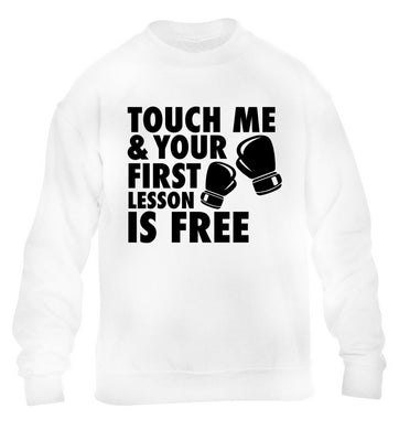 Touch me and your First Lesson is Free  children's white sweater 12-13 Years