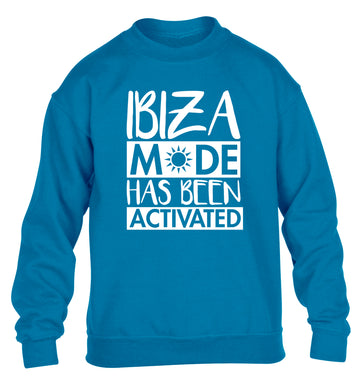 Ibiza mode has been activated children's blue sweater 12-13 Years