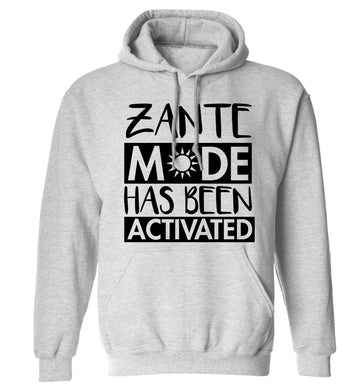 Zante mode has been activated adults unisex grey hoodie 2XL