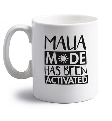 Malia mode has been activated right handed white ceramic mug