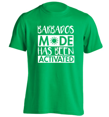 Barbados mode has been activated adults unisex green Tshirt 2XL