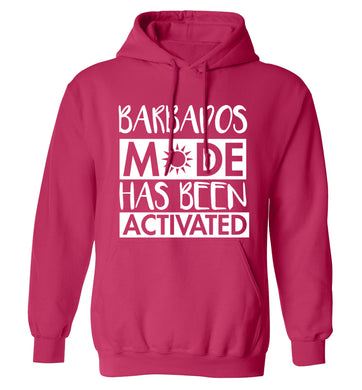 Barbados mode has been activated adults unisex pink hoodie 2XL