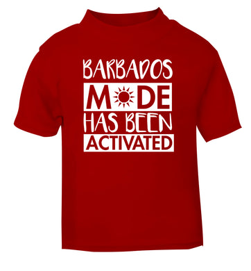 Barbados mode has been activated red Baby Toddler Tshirt 2 Years