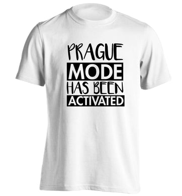 Prague mode has been activated adults unisex white Tshirt 2XL