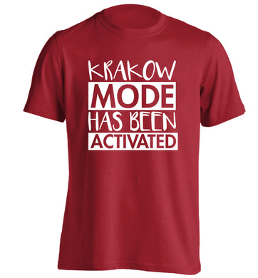 Krakow mode has been activated adults unisex red Tshirt 2XL