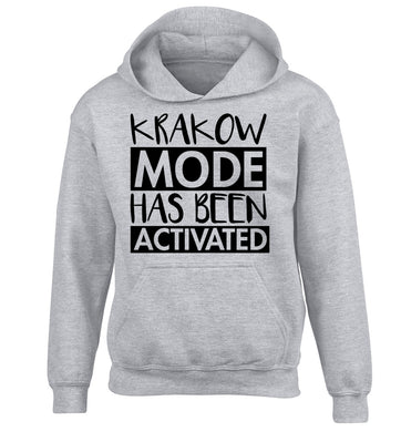 Krakow mode has been activated children's grey hoodie 12-13 Years