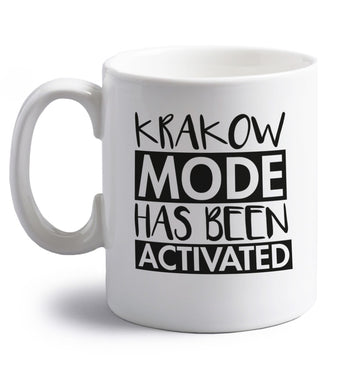 Krakow mode has been activated right handed white ceramic mug