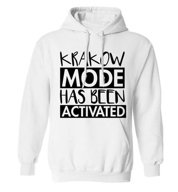 Krakow mode has been activated adults unisex white hoodie 2XL