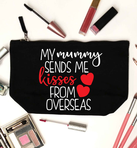 My mummy sends me kisses from overseas black makeup bag