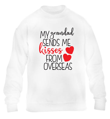 My Grandad sends me kisses from overseas children's white sweater 12-13 Years