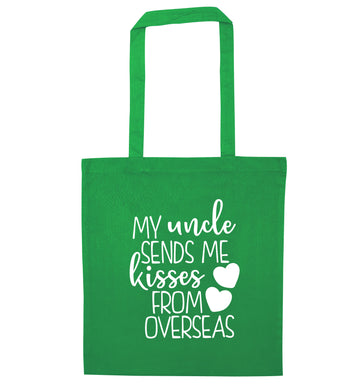 My uncle sends me kisses from overseas green tote bag