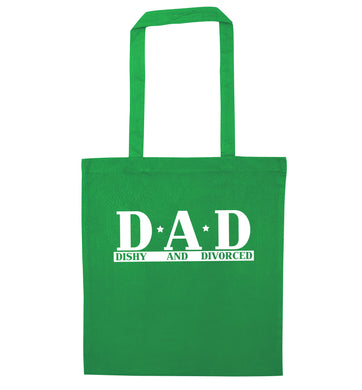 D.A.D meaning Dishy and Divorced green tote bag