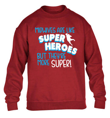 Midwives are like superheros but they're more super children's grey sweater 12-13 Years