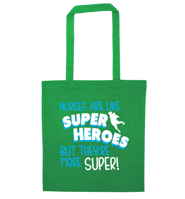 Nurses are like superheros but they're more super green tote bag