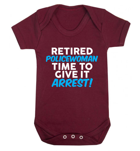 Retired policewoman time to give it arrest Baby Vest maroon 18-24 months
