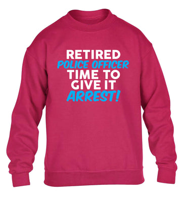 Retired police officer time to give it arrest children's pink sweater 12-13 Years