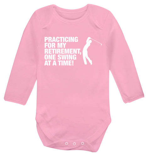 Practicing for my retirement one swing at a time Baby Vest long sleeved pale pink 6-12 months