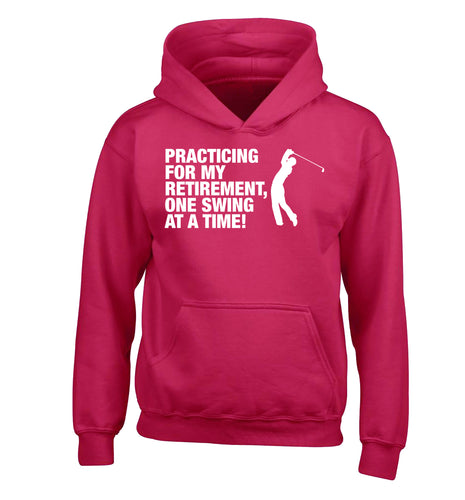 Practicing for my retirement one swing at a time children's pink hoodie 12-13 Years