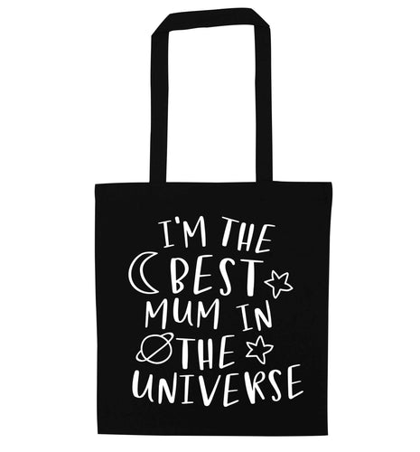 I'm the best mum in the universe black tote bag