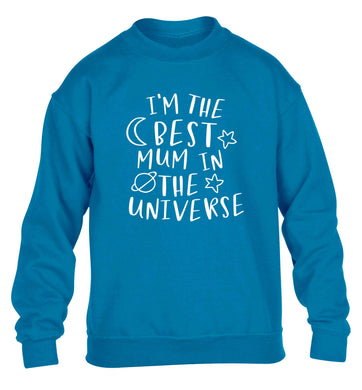 I'm the best mum in the universe children's blue sweater 12-13 Years