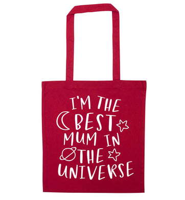 I'm the best mum in the universe red tote bag