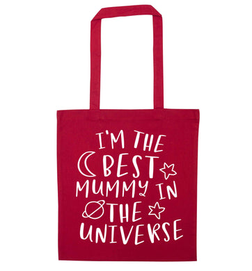 I'm the best mummy in the universe red tote bag