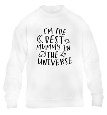 I'm the best mummy in the universe children's white sweater 12-13 Years