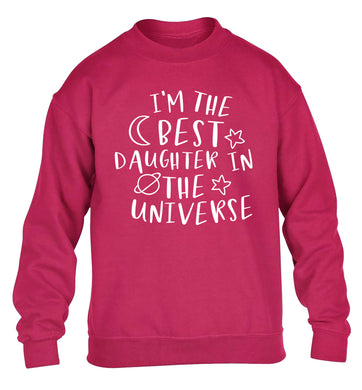 I'm the best daughter in the universe children's pink sweater 12-13 Years